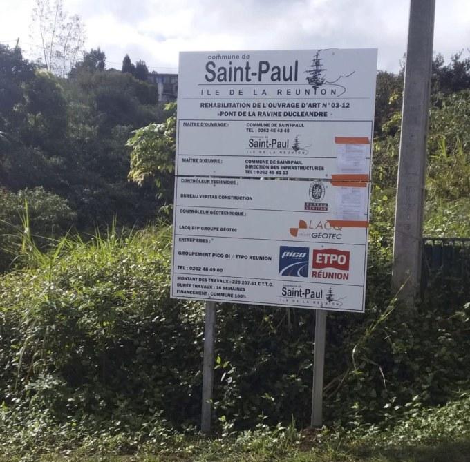 Saint-Paul réhabilite le pont de la ravine DUCLÉANDRE